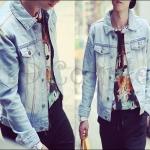 PRE-ORDER เสื้อแจ็คเก็ตแฟชั่นแบบใหม่ แจ็คเก็ตยีนส์สีซีด แขนยาวกระดุมหน้า ออกแบบเรียบง่ายแนวอินดี้ สำเนา
