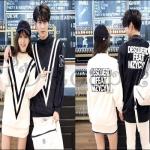 PRE-ORDER ชุดคู่รักเกาหลีใหม่ ชุดเชตกันหนาวผ้ายืดหลวมคู่รักน่ารักๆ ญ/ช.เสื้อกันหนาวแขนยาว
