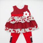 (พร้อมส่ง) Laura Ashley girl เสื้อแขนกุดมีระบายสีแดงลายเชอรี่ ติดดอกไม้ที่หน้าอก พร้อมเลคกิ้งเข้าชุด 24 M (2 ขวบ)