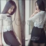 PRE-ORDER ชุดSET เสื้อสีขาวลูกไม้มาพร้อมกับกระโปรงสั้นสีดำทรงพริ้ว ออกแบบเข้าชุดกันน่ารักหวานเล็กๆ