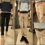 PRE-ORDER กางเกงขายาวแฟชั่นใหม่ กางเกงผ้าแฟชั่นเกาหลีผ้าลูกฟูกกางเกงลายพราง